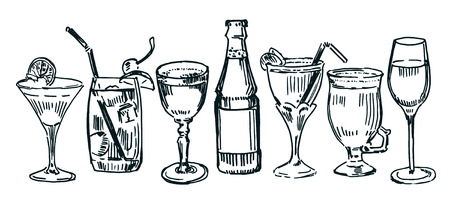 Set of drawn cocktails