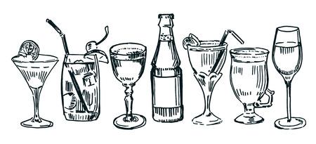 facer: Set of drawn cocktails