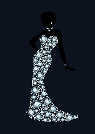 diamond wedding dress  イラスト・ベクター素材