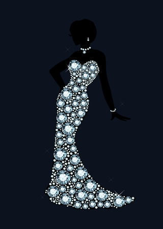 diamond wedding dress Illustration