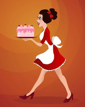 beautiful lady holding cake Vector