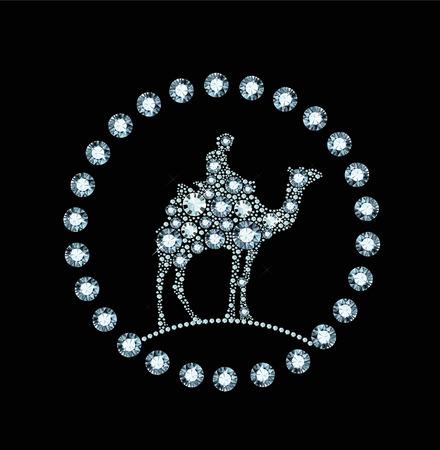 camel desert: Diamond money bag Illustration
