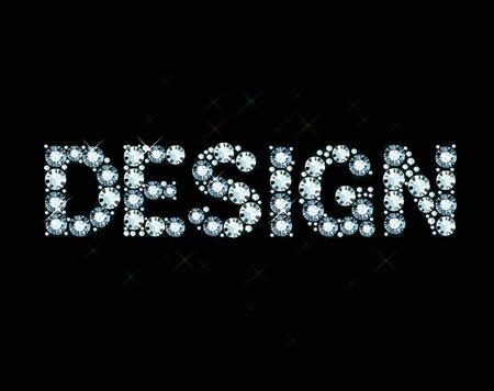 exuberance: Word design made of diamonds Illustration