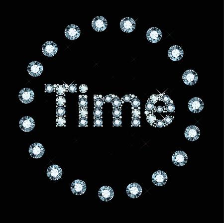 exuberance: Word Time made of diamonds Illustration
