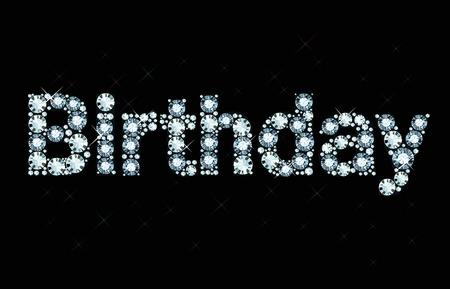 letras negras: Cumpleaños palabra diamante Vectores