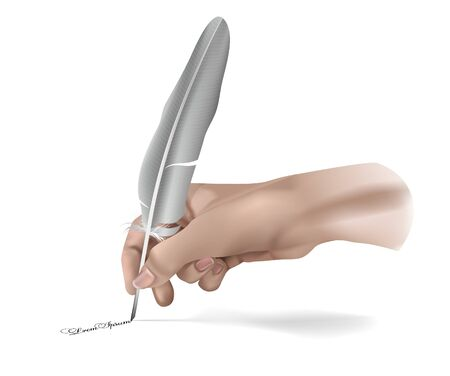 Vector Hand With Writing feather