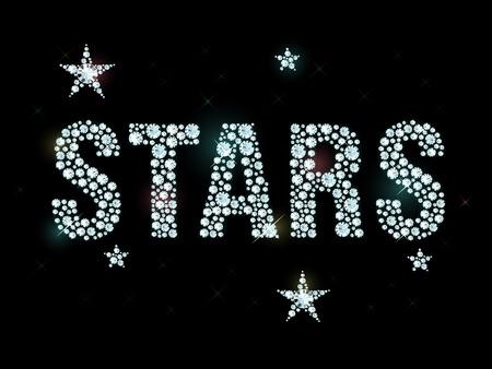 Word stars made of shiny diamonds Illustration