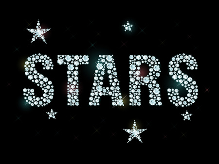 exuberance: Word stars made of shiny diamonds Illustration