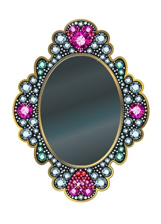 mirror and frame: Mirror frame made of gems
