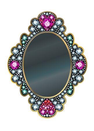 mirror frame: Mirror frame made of gems