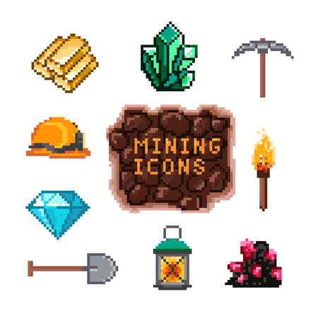 emerald stone: Set of pixel mining icons