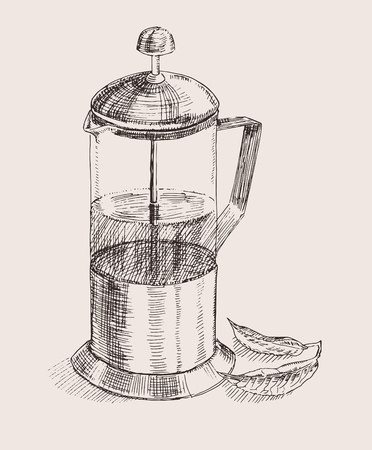 nonalcoholic: Hand drawn french press for making coffee and tea Illustration
