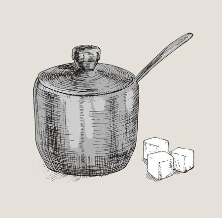 sugar cube: Hand drawn sugar cubes and sugar bowl