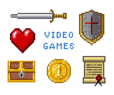 rycerz: Pixel ikony gier Ilustracja
