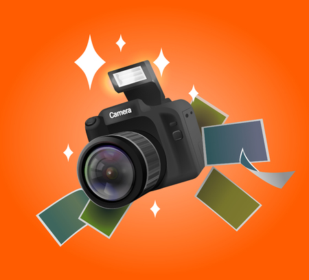 illustration of camera with pictures