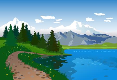 Paysage avec lac, route et les montagnes