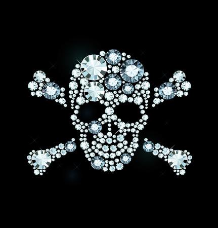 exuberance: Skull And Crossbones Made Of Shiny Diamonds Illustration