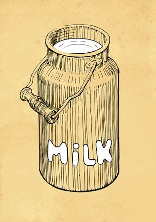 Hand Drawn Milk Can on Abstract Background