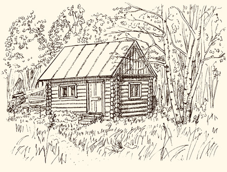 Hand Drawn Rural Landscape with Wooden House