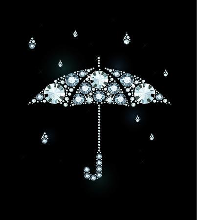 Umbrella and Rain Drops Made of Diamonds Vectores