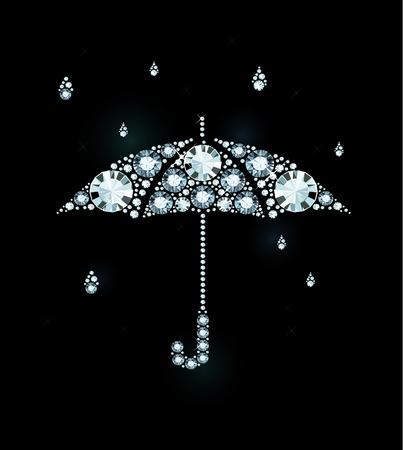 brilliant: Umbrella and Rain Drops Made of Diamonds Illustration