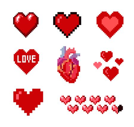 heart damage: Set of various pixelated hearts