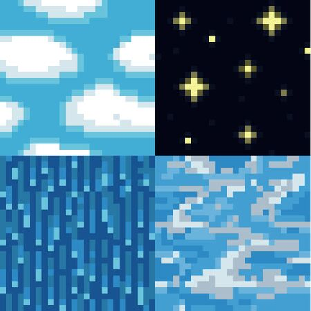 seamless sky: Set of pixelated seamless sky textures