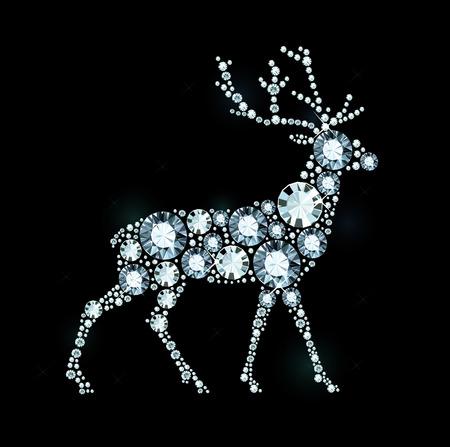 Deer Made of Shiny Diamonds 矢量图像