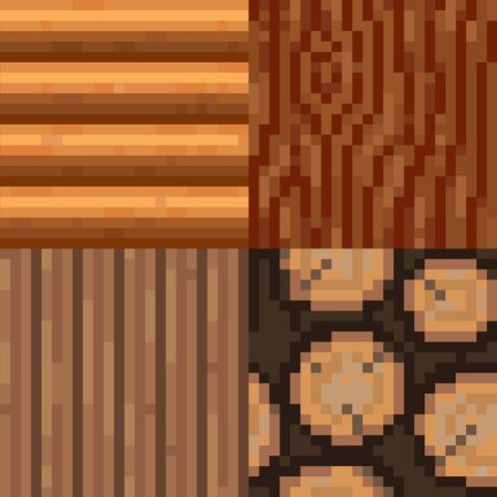 log wall: Set of pixelated seamless wooden textures