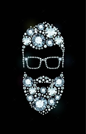 bearded man: Bearded Man with Glasses made of Diamonds Illustration