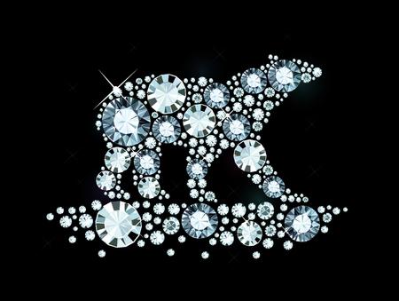 Polar Bear Made of Shiny Diamonds