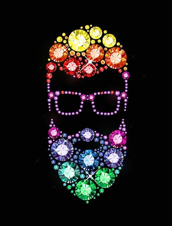 exuberance: Bearded Man with Glasses made of Gems