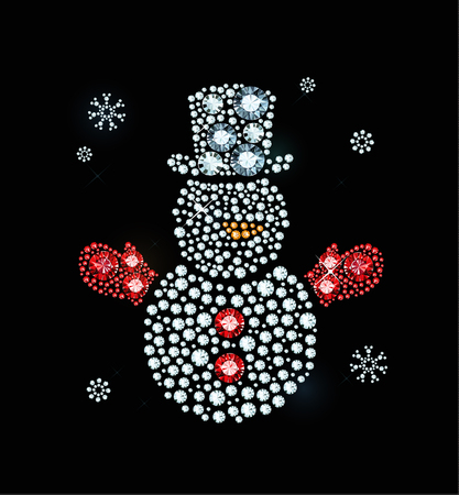 exuberance: Snowman With Hat Made of Shiny Diamonds Illustration