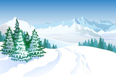 snow landscape: Winter landscape with mountains and spruce trees