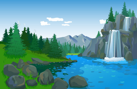 waterfall river: Summer landscape with waterfall and mountains