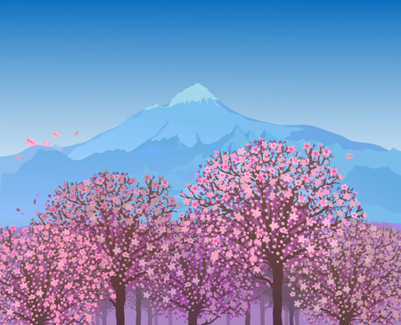 Landscape With Mountain And Sakura Blossom