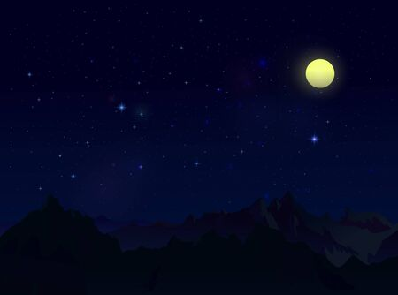 starfield: Landscape with stars, moon and mountains