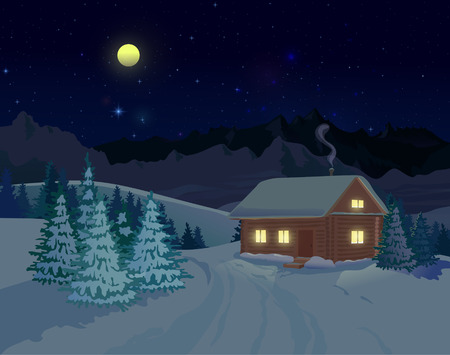 night lights: Night winter landscape with mountains and spruce trees