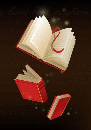 Opened magic book on dark background