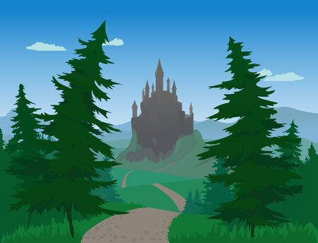 spruce: Landscape With Medieval Castle and Spruce Trees