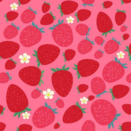 Seamless pattern with stylized strawberries