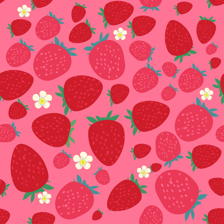 Seamless pattern with stylized strawberries
