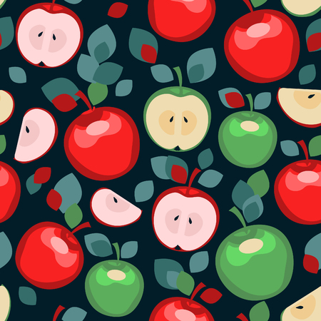 Seamless pattern with stylized apples