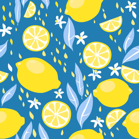 Seamless pattern with lemons and flowers Vectores