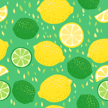 Seamless pattern with lemons and limes Vectores