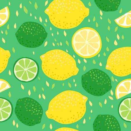 Naadloos patroon met citroenen en limoenen