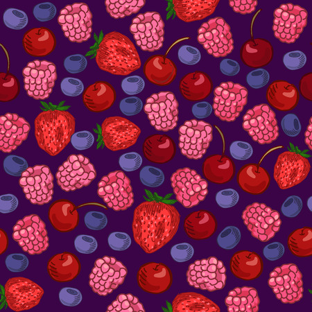 red berries: Seamless pattern with various berries