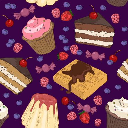 blueberry pie: Seamless pattern with various sweets