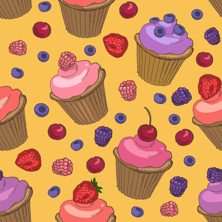 blueberry pie: seamless pattern with cupcakes and berries