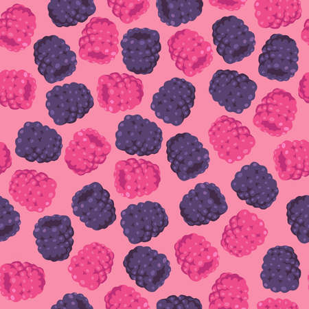blackberries: Seamless Pattern with Raspberries and Blackberries